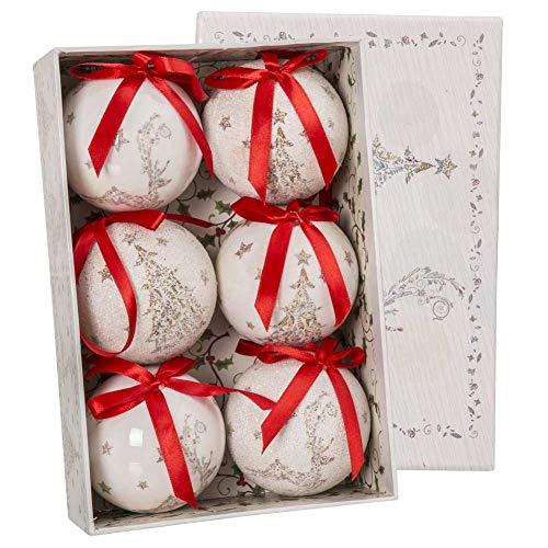 Bakaji christmas set 6 palline natalizie bianche decorazione albero di natale diametro 7,5cm con fiocco rosso