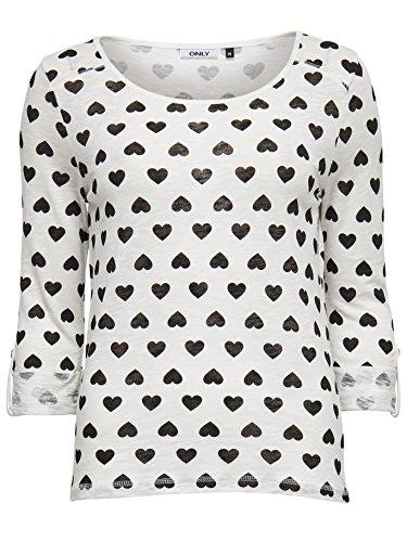 Only Pullover da donna maglietta Jess 3/4Star Heart-Bird Top Box rondini stelle cuore creme-weiß mit schwarzen Herzen (CLOUD DANCER AOP: HEARTS) Medium
