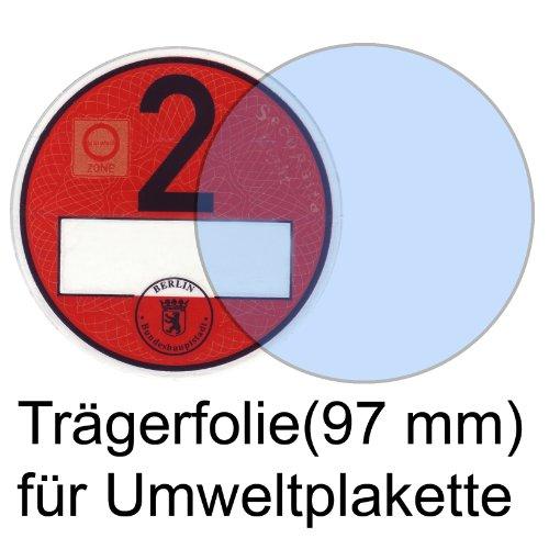 Durchsichtige Trägerfolie für Umweltplakette/Feinstaubplaketten 97 mm, NEU