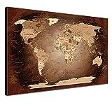 """LANA KK - Weltkarte Leinwandbild mit Korkrückwand Zum pinnen der Reiseziele – """"Worldmap Antik"""" - Deutsch - Kunstdruck-Pinnwand Globus in Braun, Einteilig & fertig gerahmt in 60x40cm"""
