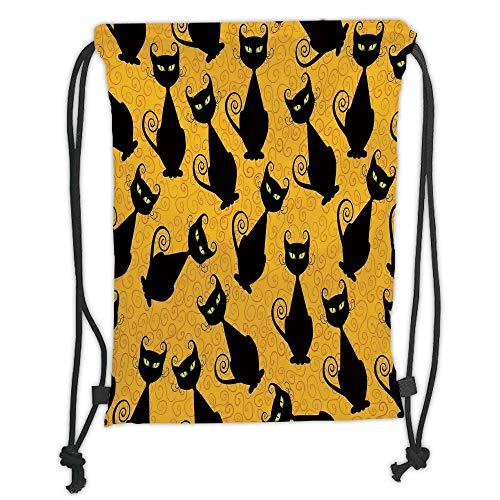 LULUZXOA Gym Bag Printed Drawstring Sack Backpacks Bags,Vintage Decor,Black Cat Pattern on Orange Background Halloween Witch Pet Graphic Decorative,Black Orange Soft Satinring Clo (Halloween Vintage Holiday Graphics)
