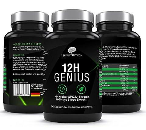 12H Genius - Premium Brain Booster - 90 Kapseln für Konzentration in Job & Studium - 100% Vegan mit Guarana & Alpha
