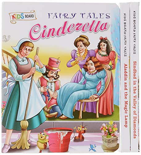 Sawan Set of 3 Books, Kids Board Fairy Tales (Cinderella, Aladdin and the Magic Lamp, Sindbad in the Valley of Diamonds)