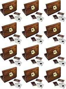 Set di 12 - suonare insieme gift card - legno contenitore di titolare della carta con 2 mazzi di carte da gioco di plastica - regali imballa -16 x 12 x 3,8 cm
