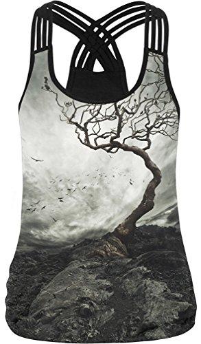 Bettydom Damen Criss Cross bunt 3D Print Racerback Sport Weste Cami Top T-Shirt(L,2 Baum) -