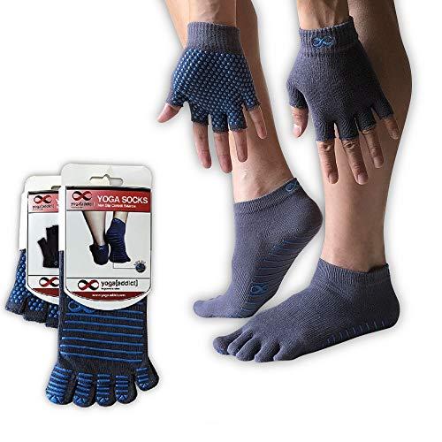 YogaAddict Yoga-Socken und Handschuhe Set, für Jede Art von Yoga und Pilates, Rutschfest, Fitness- und Yoga-Zubehör für Damen und Herren, Unisex, Full Toe Yoga Socks, Grey (with Blue Grips), S/M -