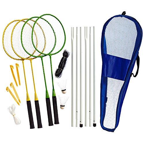 Best Sporting Badminton-Spiel Garnitur bestehend aus Netz, 4 Schläger, 3 Badmintonbällen, inklusive Tasche