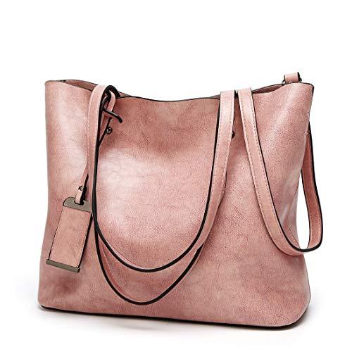 Schulter-Handtaschen für Frauen 2way Abdeckung PU Leder Pendler Student große Kapazität A4 Größe einstellbar (Color : Pink) ()