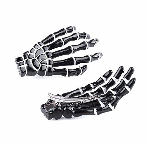 EROSPA® Haar-Spange Skelett Hand-Knochen Klammer Finger Krallen 2 Stück schwarz Weiss Skeleton Karneval Fasching Kostüm (Schwarz / Weiß)