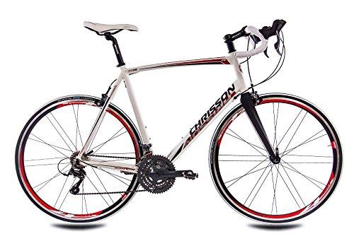 CHRISSON RELOADER - Bicicleta de carreras (28 pulgadas, 24 marchas Shimano Claris Carbon y horquilla Shimano), color blanco y rojo, tamaño 59 cm (Sw 12)