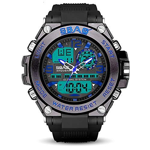 ZUZEN 2019 Neue Herrenuhr Silikon Leuchtende Wecker Elektronische Multifunktionsuhr Wasserdichte Männliche Elektronische Uhr,Blue