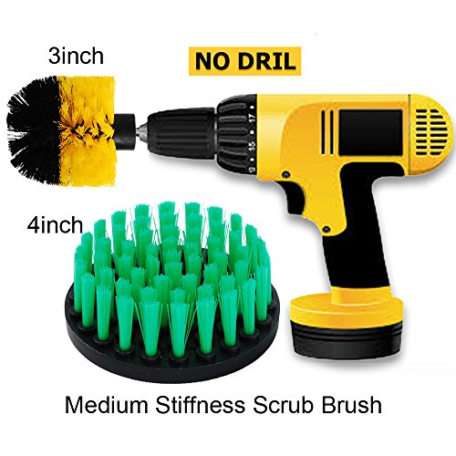 OxoxO 3inch + 4inch Medium Heavy Duty Scrubbing Cleaning Power Scrubber Cleaning Drill Brush Kit for Bathroom Surfaces Tub, Shower, Tile and Grout