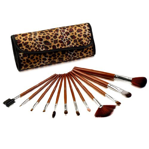 Glow 12Pinceles de maquillaje en marrón Estampado De Leopardo Case