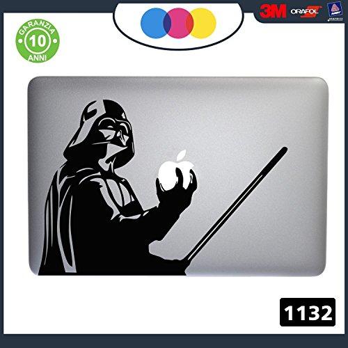 Adesivo Star Wars Darth Vader PER TUTTI I MODELLI DI Mac Book Apple 15 17 pollici ADESIVO PER QUALSIASI COMPUTER ANCHE NON MAC BOOK PC COLORE NERO