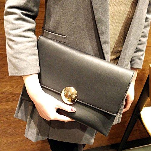 Neue modische Handtasche bulk Tasche Tasche einfache runde Schnalle, Claret Black