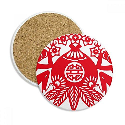 Chinesische Pfirsich (China Chinesisches Sternzeichen Affe Pfirsich Blumen Stein Drink Keramik Untersetzer für Tasse Geschenk 2)