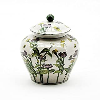 AcaciaHome Ceramic Ginger Jar Lidded Vase Ornament Floral Spice Storage Antique Style 25cm
