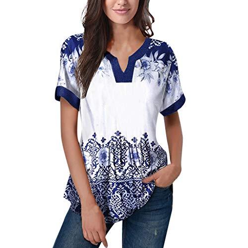 Frauen stilvolle Blumendruck Plissee Tunika Sexy V-Ausschnitt Tops Kurzarm Casual Loose Fit Bluse Sommer Button Up Shirt Camo Button