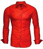 Kayhan Langarmhemd Slim Fit 20 Farben zur Auswahl S-XXL Rot (XL)