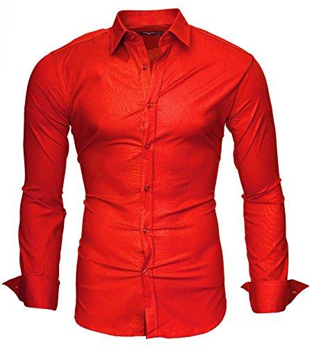 Kayhan uni camicia slim fit, red (xl)