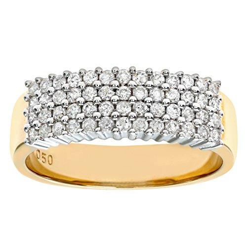 Naava Anillo para Mujer de Oro Amarillo 9K con Diamantes Talla 14