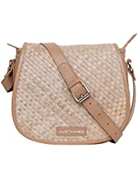 Justanned women Leather Woven tan crossbody Bag