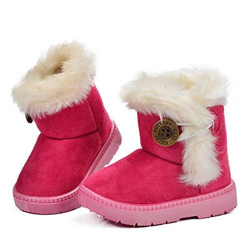 Tufanyu Kinder mit Fell Plateauschuhe Winter Lederschuhe Mädchen Schneeschuhe Jungen Plüsch Warm Schnalle Kids Mid-Calf Boots Einfacher Verschleiß ( Color : Red , Size : 27 EU ) (Calf Mid Herren Boots)