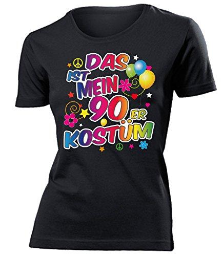 90er Jahre Kostüm Damen T Shirt Karneval Fasching Motto Schlager Party Verkleidung Schlagerkleidung Mottoparty Deko Schlagerfan Hemd Schlagerkleid, 90er Jahre 1855 Schwarz, XXL