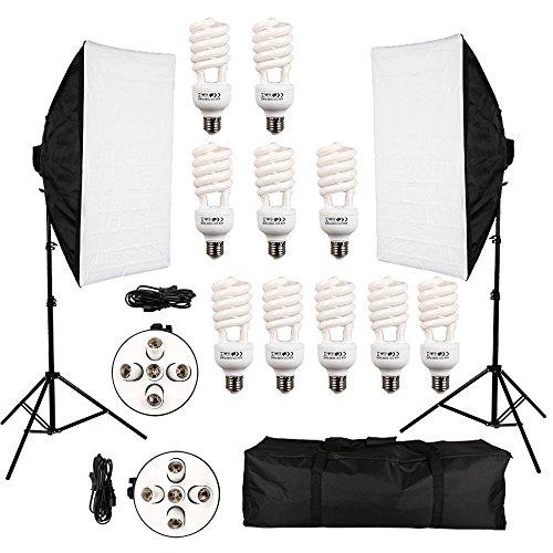 io Set 2X 50*70 cm Softbox 5 in1 Fotostudio Lampenstativ mit 10X 45W Fotolampe E27 5500K Tageslicht with 2m Lampenstativ Tripod+Tragetasche Tasche (Fotoausrüstung Regenschirm)