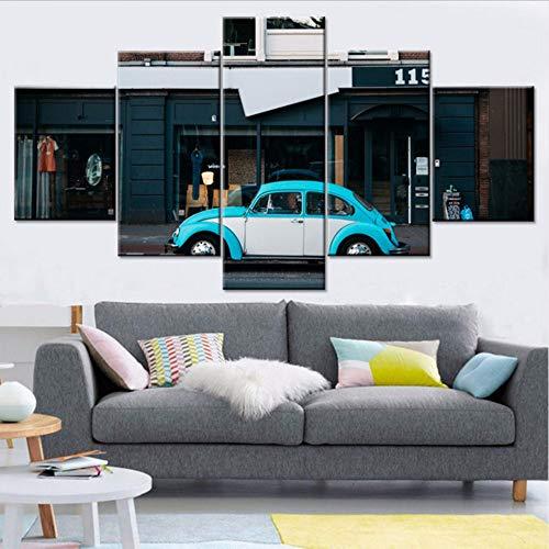 Wuwenw Moderne Bilder Rahmen Dekor Für Wohnzimmer Hd Druckt Blau Cooles Auto Nacht Szene Gemälde Artwork Poster Modulare Leinwand Wandkunst, 4X6 / 8/10 Zoll, Mit Rahmen