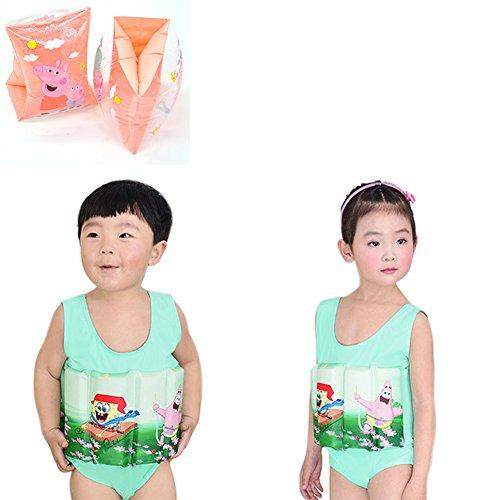 rei Lernen Einstellbare Float Anzug Sonnenschutz UV-Badeanzug für Baby Jungen mit Armbinden zu schwimmen, 1-2 Jahre (Jungen-float-anzug)
