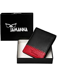 Tamanna Black And Red Genuine Leather Wallet For Men