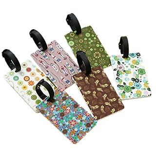 Fully 2x PVC Leder Gepäck Anhänger Kofferanhänger Reisengepäck Adresse Name ID Tag Etikette Bezeichner Schlüsselanhänger (Mustern zufällig)