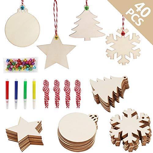OurWarm 40 pezzi ornamenti natalizi in legno set baubles in legno con fori, dischi in legno non finiti per bambini artigianali regali di Natale fai da te decorazioni natalizie appese, 4 st