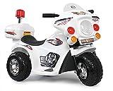 Kindermotorrad Elektromotorrad Kinderfahrzeug Dreirad Kinder Polizei Motorrad in Weiß