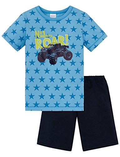 Schiesser Jungen Zweiteiliger Schlafanzug Kn Anzug Kurz, Blau (Hellblau 805), 140
