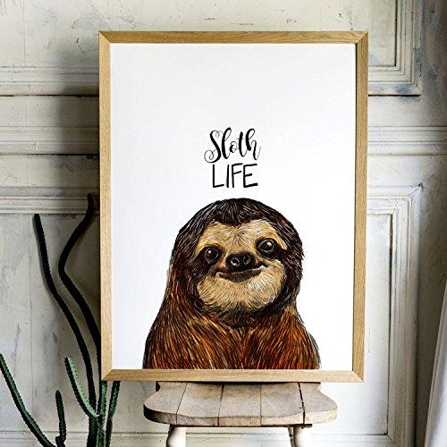 faultier poster A3 Print mit Faultier und Spruch Sloth Life Poster Plakat Motto Zitat p121 ilka parey wandtattoo-welt®