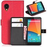 DONZO Tasche Handyhülle Cover Case für das LG Nexus 5 / D821 in Rot Wallet Structure Plus als Etui seitlich aufklappbar im Book-Style mit Kartenfach nutzbar als Geldbörse