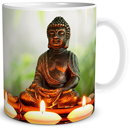 TRIOSK Buddha Problem Lösung, Geschenk Geburtstag Frau Freundin Kollegin Arbeit Büro, Weiß Grün Bunt, 300 ml