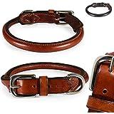 Classic-Line von Pear Tannery: Hundehalsband aus weichem Vollrindleder, rund, L 44-52cm, cognac