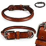 Pear - Tannery Classic-Line Hundehalsband aus weichem Vollrindleder, rund, M 41-47cm, Cognac