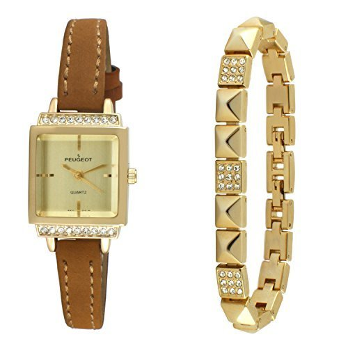 Peugeot Women Gold Petite Faceted Crystal Watch with Matching Pyramid Bracelet Gift Set
