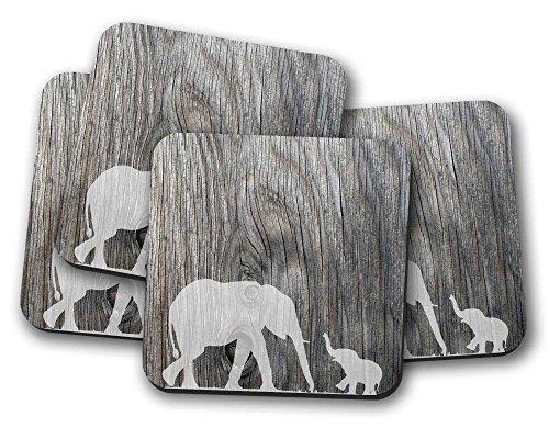Untersetzer-Set, Motiv: Elefant mit Baby, ideales Geschenk zum Einzug, 4 Stück