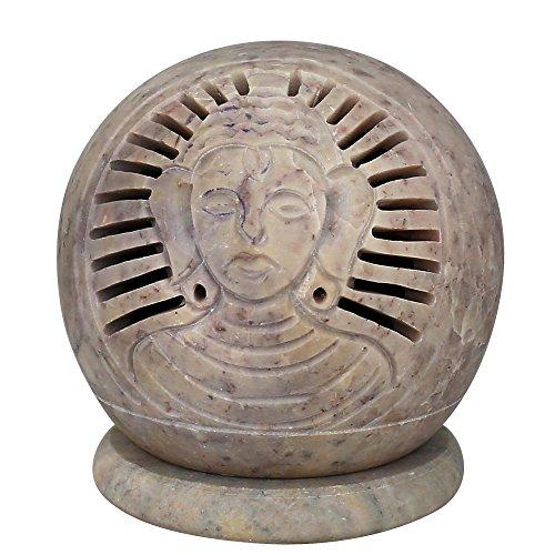 Handmade Buddha in pietra ollare tealight-Portacandele decorativo globo-Perfect Diwali Gift