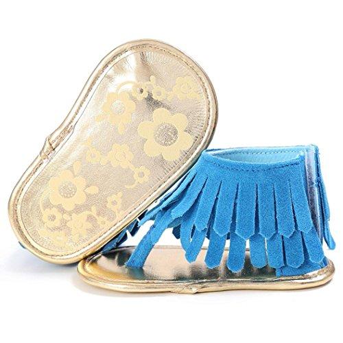 Ouneed® Bebe Fille Ete Cuir Premier Pas Sandale Frange Bleu