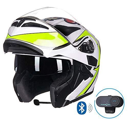 MTCTK Interphone sans Fil intégré de Casque de Moto de Moto Casque intégral intégrable de Moto avec la Double lentille Anti-buée,Fluorescent,L(58~59) CM