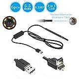 OWSOO Telecamere di Ispezione 6 LED 5,5MM Lente Endoscopio USB Filo Telecamera del Tubo del Serpente per Assistenza Sanitaria, per Android e Window PC