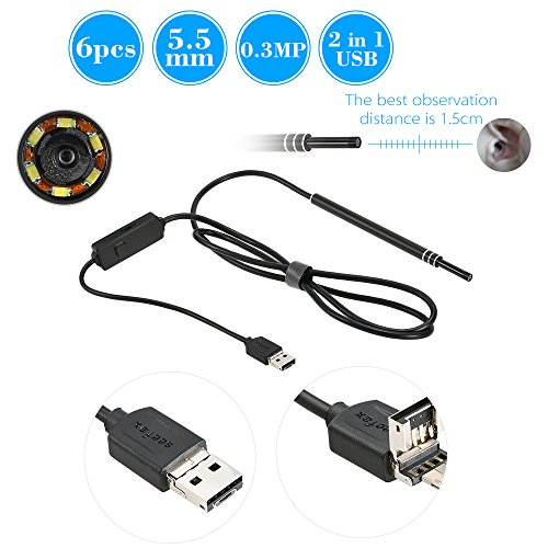 OWSOO Endoscopio Inspección 6 LED 5.5MM Lente Cable