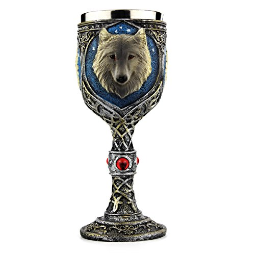 EZESO Wolf Coffee Goblet Cup Stainless Steel Resin Travel Tea Wine Beer Mugs (Goblet)