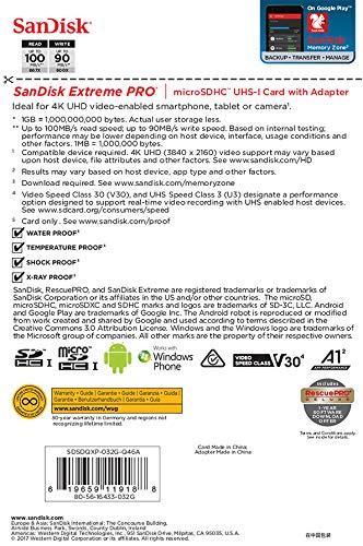 SanDisk Extreme Pro Scheda di Memoria microSDHC da 32 GB e Adattatore SD con App Performance A1 e Rescue Pro Deluxe, fino a 100 MB/sec, Classe 10, UHS-I, U3, V30